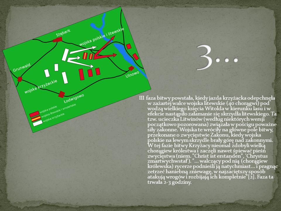 II faza bitwy rozpoczęła się atakiem jazdy krzyżackiej na prawe i lewe skrzydło armii polsko-litewskiej i zderzeniem się ciężkiej jazdy obu stron. W e