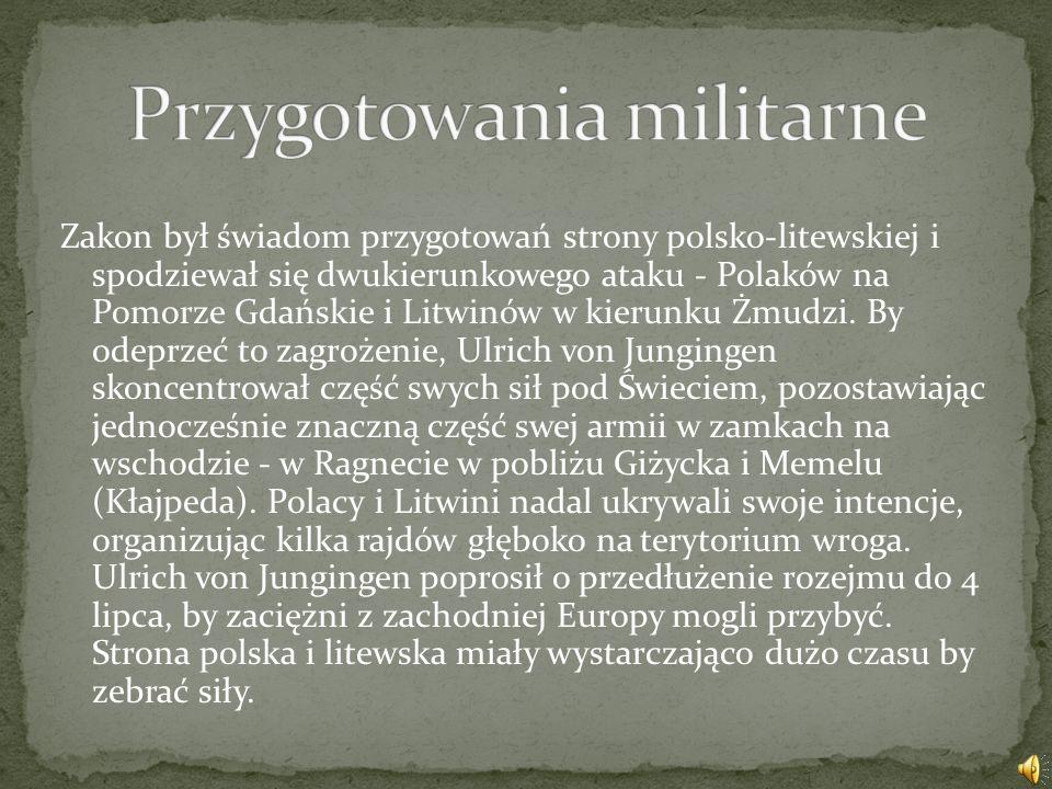 35,5 % 28,4 % 36,1 % Bitwa została stoczona w czasie trwania Wielkiej wojny, między siłami zakonu krzyżackiego wspomaganego przez rycerstwo zachodnioe