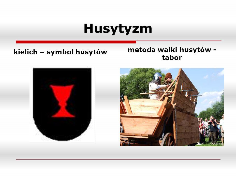 Husytyzm kielich – symbol husytów metoda walki husytów - tabor