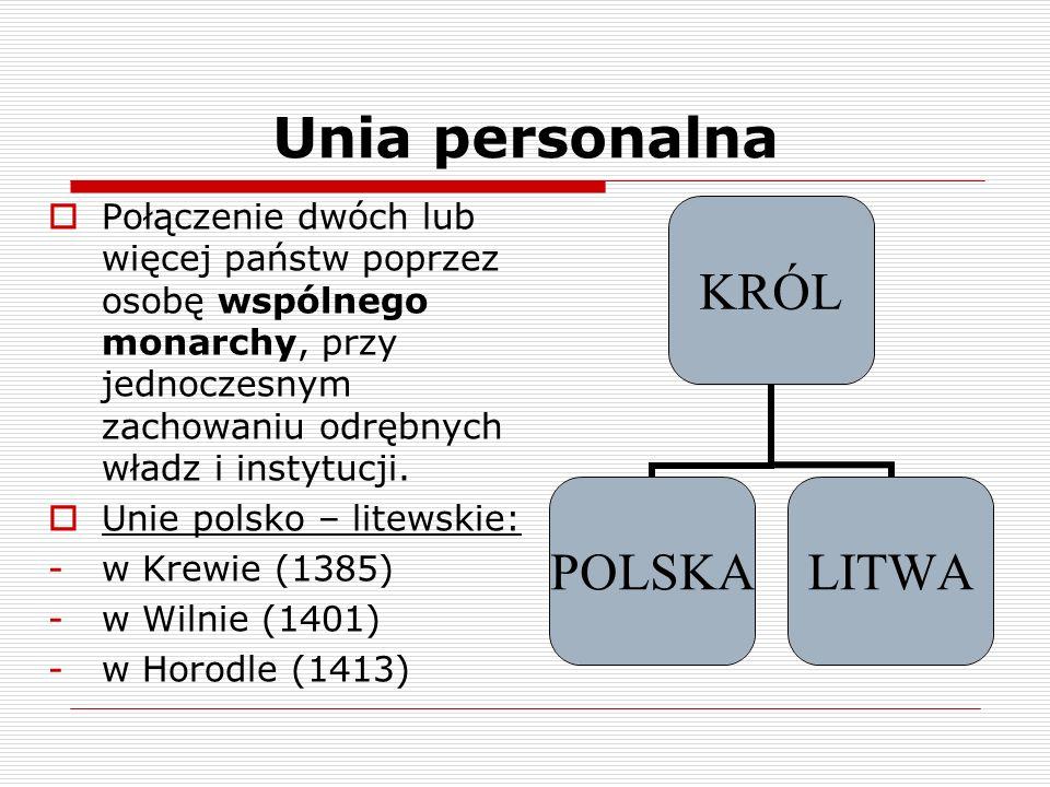 Unia personalna Połączenie dwóch lub więcej państw poprzez osobę wspólnego monarchy, przy jednoczesnym zachowaniu odrębnych władz i instytucji. Unie p