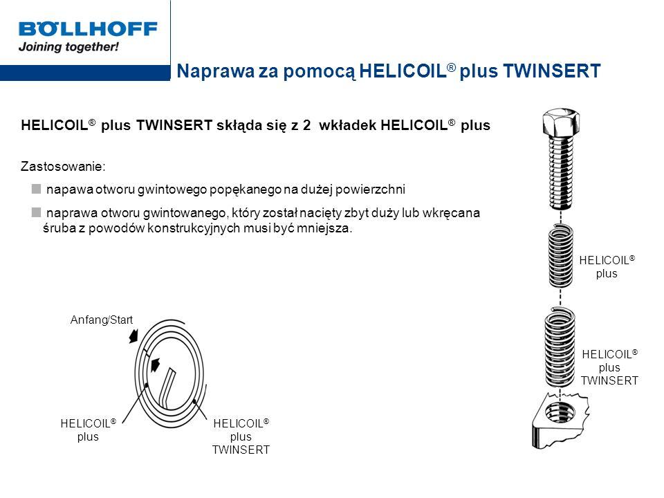 Naprawa za pomocą HELICOIL ® plus TWINSERT HELICOIL ® plus TWINSERT skłąda się z 2 wkładek HELICOIL ® plus Zastosowanie: napawa otworu gwintowego popę