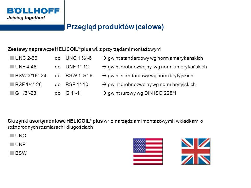 Przegląd produktów (calowe) Zestawy naprawcze HELICOIL ® plus wł. z przyrządami montażowymi UNC 2-56 do UNC 1 ½-6 gwint standardowy wg norm amerykańsk