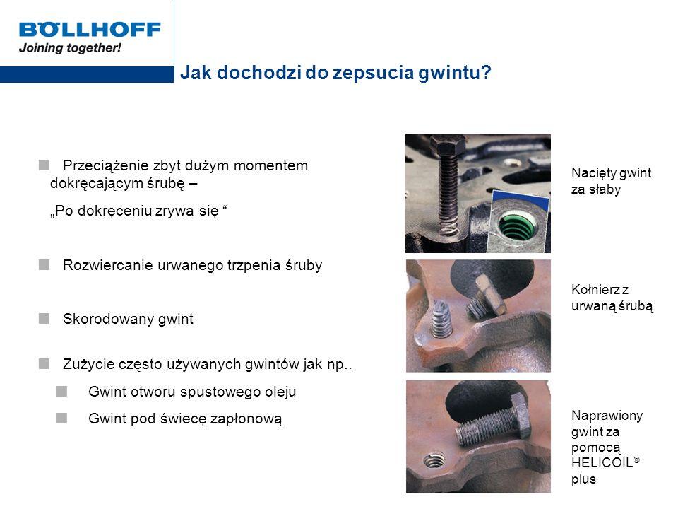 Sposoby naprawcze w specjalnych zastosowaniach Kroki montażowe wkładek gwintowych HELICOIL ® plus w uszkodzonych otworach pod świece zapłonowe 1.