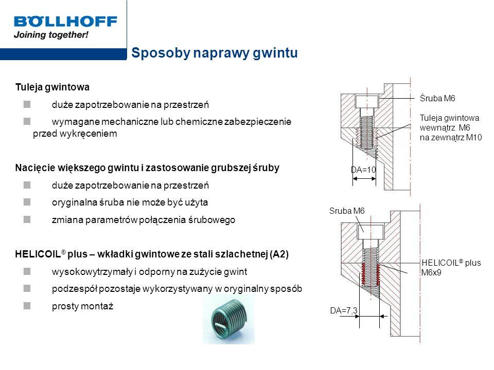 Zasada naprawy gwintu za pomocą HELICOIL ® plus Rozwiercić uszkodzony gwint na mniej więcej rozmiar średnicy znamionowej gwintu d Przykład: Średnica gwintu D = M6 Nawiercić na D 1HC = 6,22...6,41 mm Otwór D 1HC jest otworem bazowym pod nacięcie gwintu nośnego wkładki HELICOIL ® plus Naciąć gwint o tym samym profilu jak gwint znamionowy (o tym samym skoku gwintu p), jednakże o większej średnicy D HC Przykład: M6 D HC = 7,3 mm Śruba M6 DA = 7,3 HELICOIL ® plus M6x9 Maßtabelle