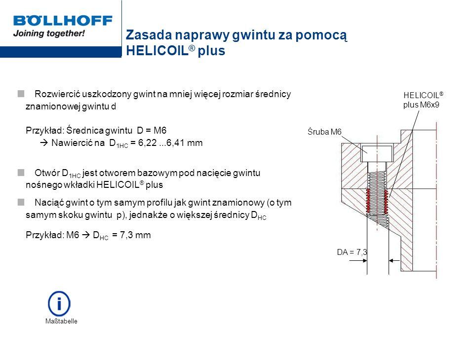 Zasada naprawy gwintu za pomocą HELICOIL ® plus Rozwiercić uszkodzony gwint na mniej więcej rozmiar średnicy znamionowej gwintu d Przykład: Średnica g