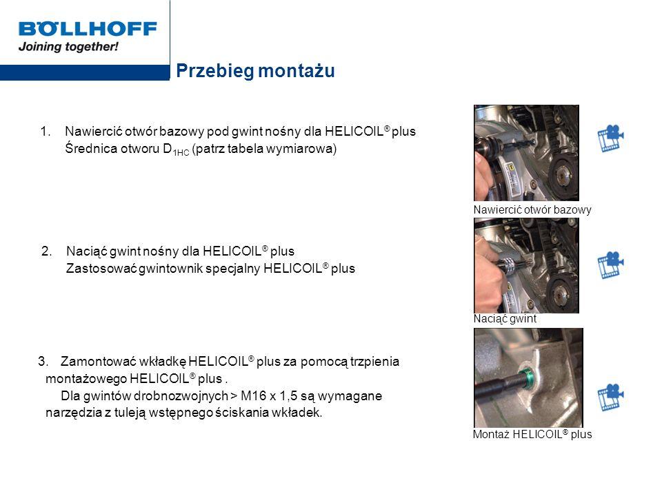 Przebieg montażu 1. Nawiercić otwór bazowy pod gwint nośny dla HELICOIL ® plus Średnica otworu D 1HC (patrz tabela wymiarowa) 2. Naciąć gwint nośny dl