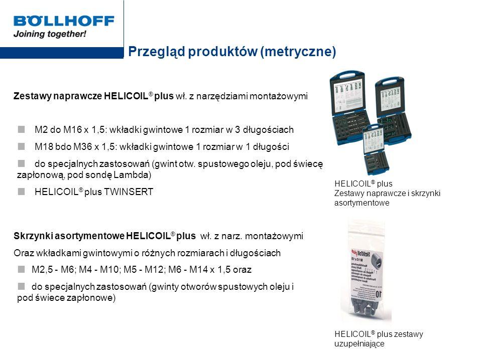 Przegląd produktów (metryczne) Zestawy naprawcze HELICOIL ® plus wł. z narzędziami montażowymi M2 do M16 x 1,5: wkładki gwintowe 1 rozmiar w 3 długośc