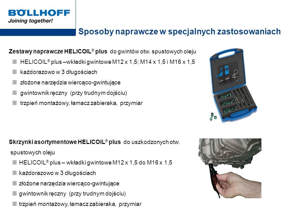 Sposoby naprawcze w specjalnych zastosowaniach Zestawy naprawcze HELICOIL ® plus do gwintów otw. spustowych oleju HELICOIL ® plus –wkładki gwintowe M1