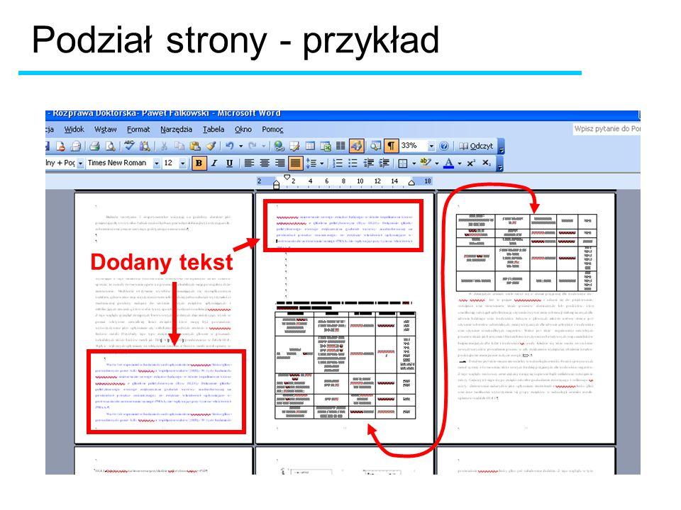 Dodany tekst Podział strony - przykład
