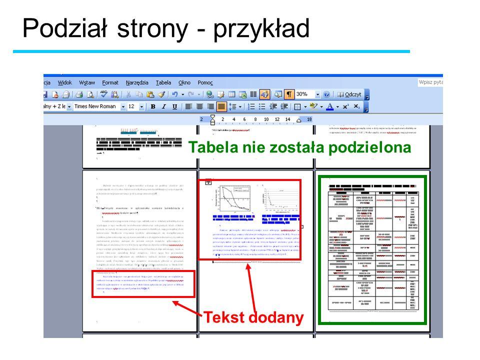 Tekst dodany Podział strony - przykład Tabela nie została podzielona
