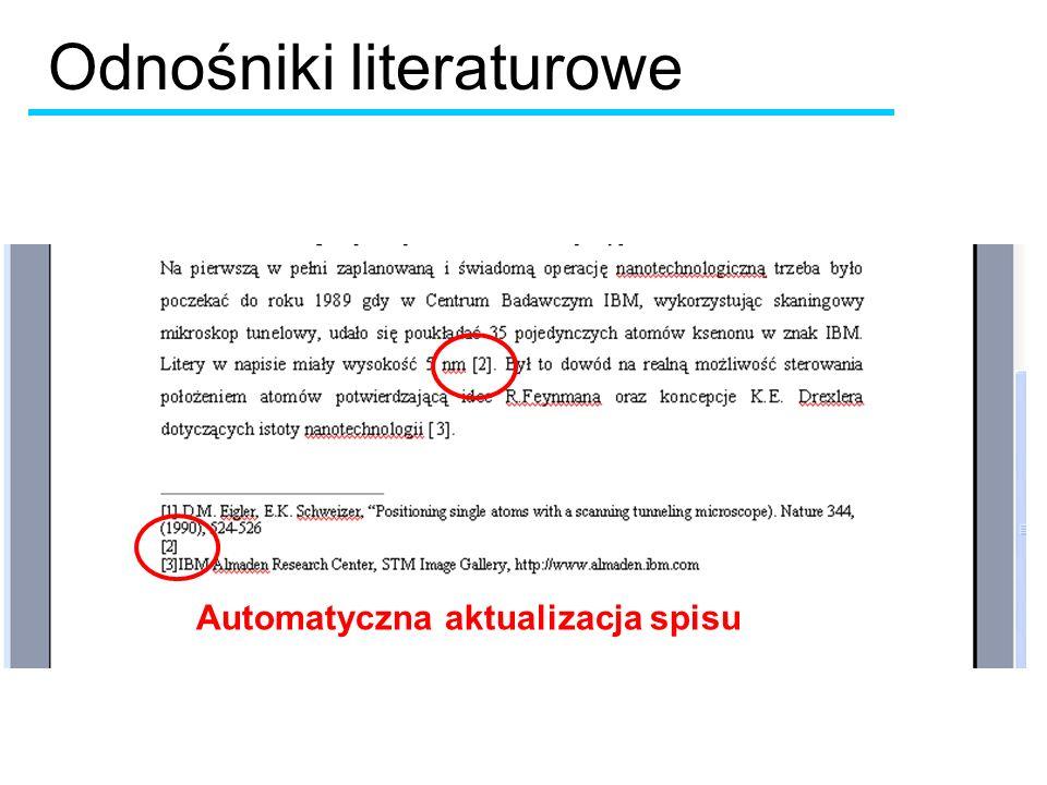 Odnośniki literaturowe Automatyczna aktualizacja spisu