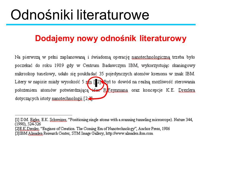 Dodajemy nowy odnośnik literaturowy Odnośniki literaturowe