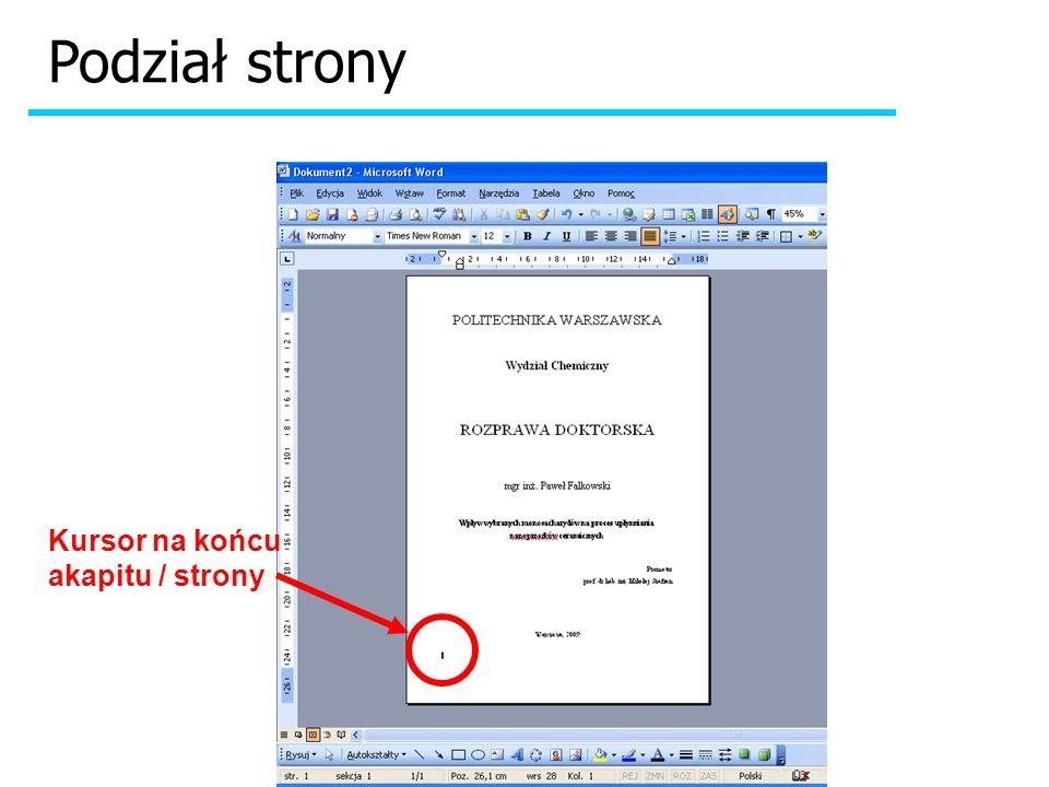 Podpisy pod rysunkami i tabelami Wstawiony Rysunek lub Tabelę razem z podpisem można umieścić w polu tekstowym lub w komórce tabeli.