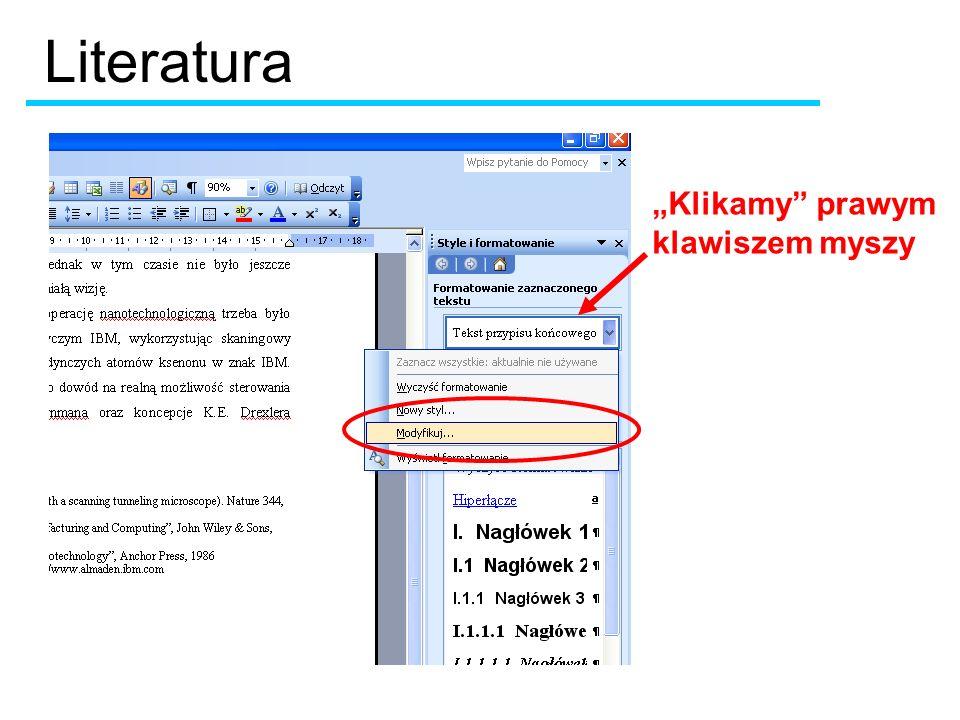 Klikamy prawym klawiszem myszy Literatura