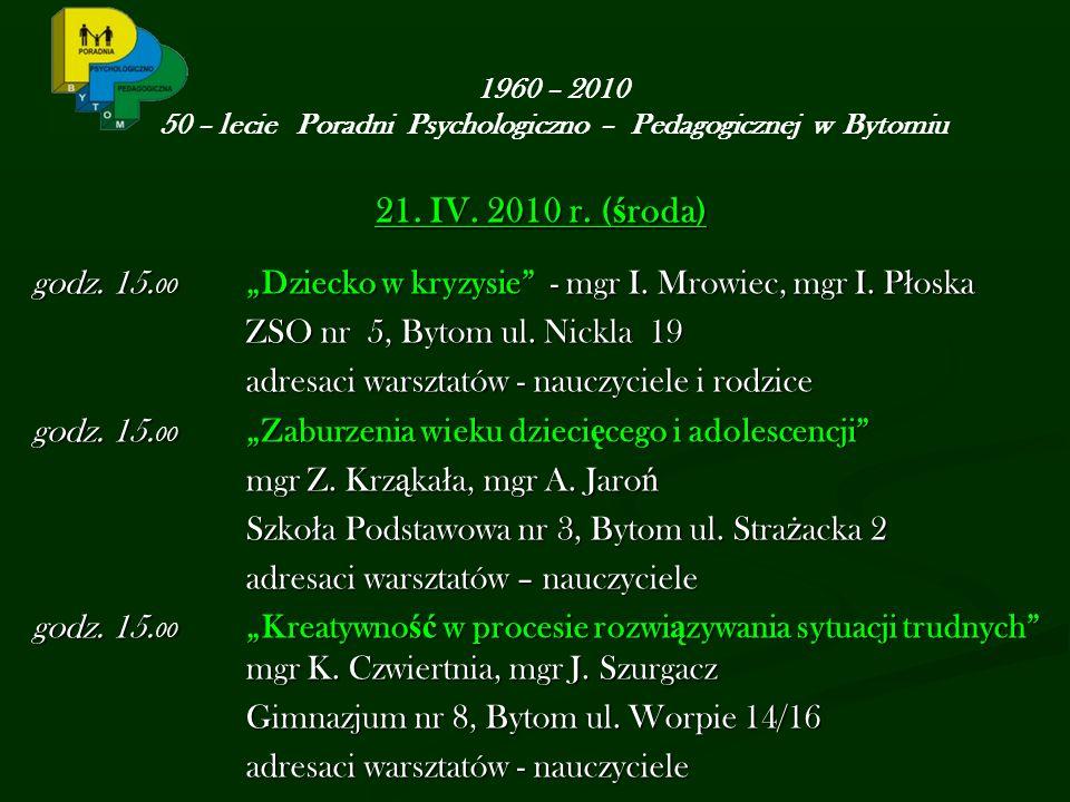 21. IV. 2010 r. ( ś roda) godz. 15. 00 Dziecko w kryzysie - mgr I.
