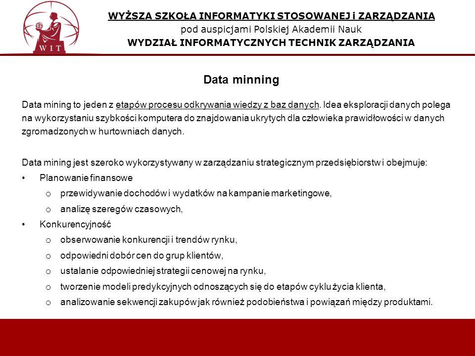 WYŻSZA SZKOŁA INFORMATYKI STOSOWANEJ i ZARZĄDZANIA pod auspicjami Polskiej Akademii Nauk WYDZIAŁ INFORMATYCZNYCH TECHNIK ZARZĄDZANIA Data mining to jeden z etapów procesu odkrywania wiedzy z baz danych.