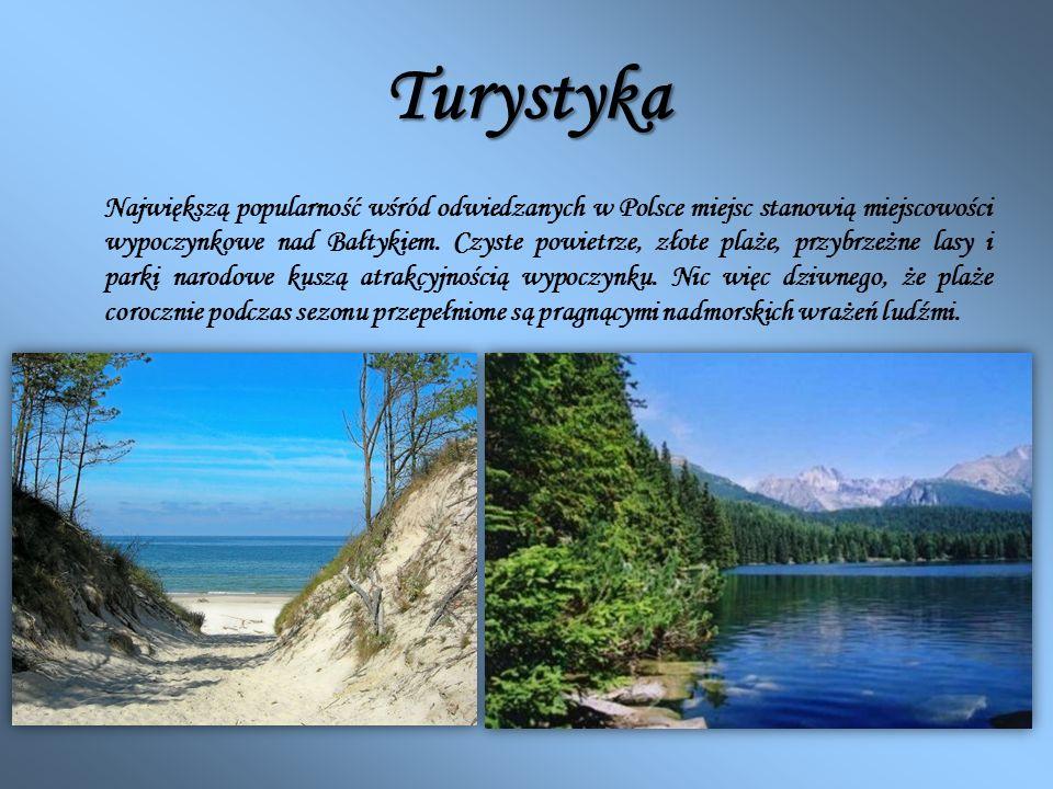 Turystyka Największą popularność wśród odwiedzanych w Polsce miejsc stanowią miejscowości wypoczynkowe nad Bałtykiem. Czyste powietrze, złote plaże, p