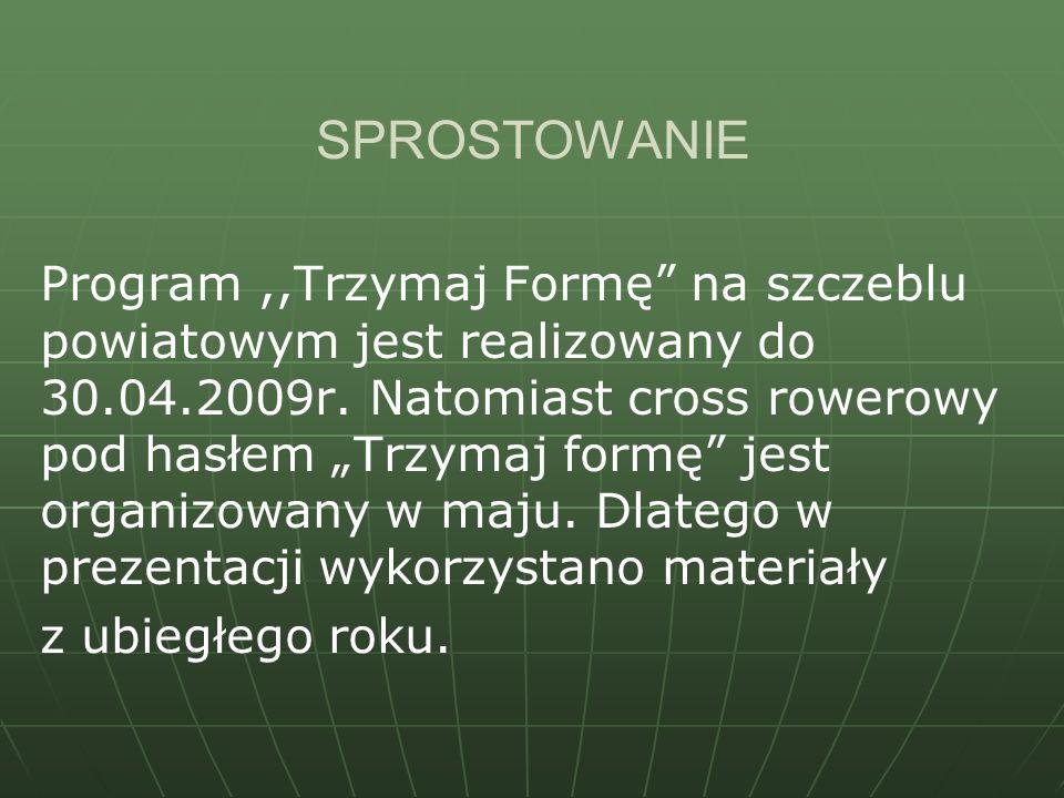 SPROSTOWANIE Program,,Trzymaj Formę na szczeblu powiatowym jest realizowany do 30.04.2009r. Natomiast cross rowerowy pod hasłem Trzymaj formę jest org