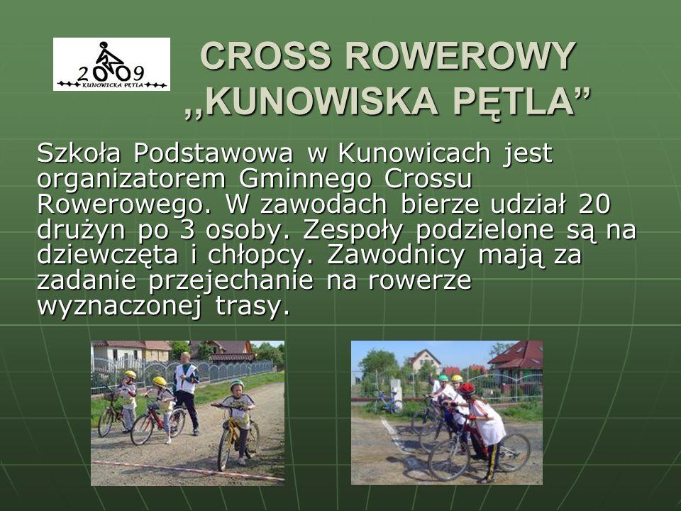 CROSS ROWEROWY,,KUNOWISKA PĘTLA Szkoła Podstawowa w Kunowicach jest organizatorem Gminnego Crossu Rowerowego. W zawodach bierze udział 20 drużyn po 3