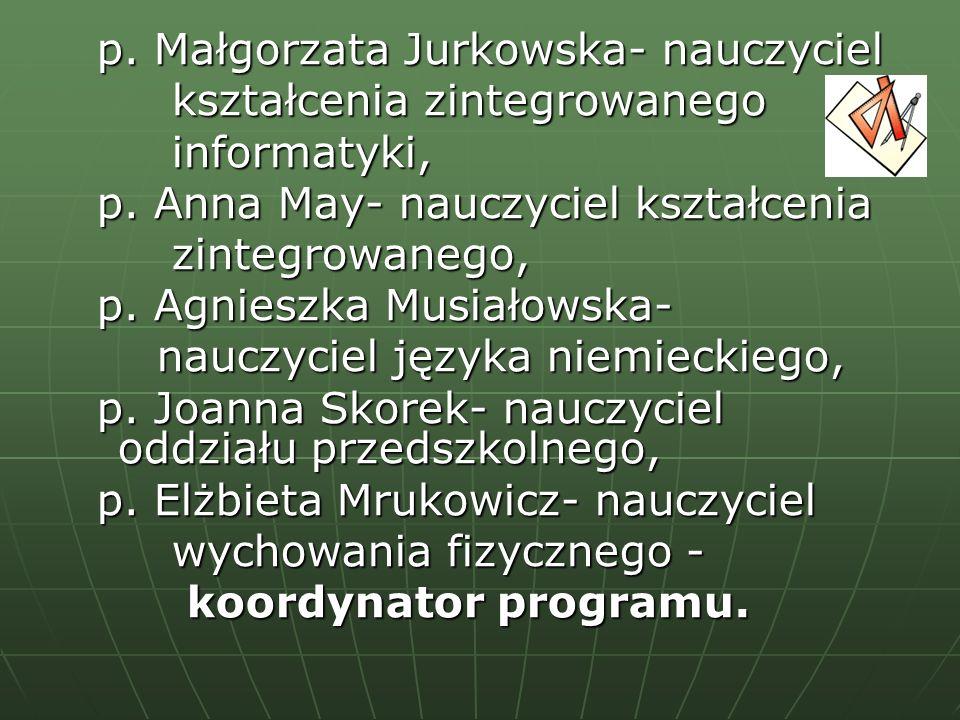 p. Małgorzata Jurkowska- nauczyciel p. Małgorzata Jurkowska- nauczyciel kształcenia zintegrowanego kształcenia zintegrowanego informatyki, informatyki