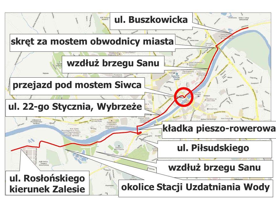 przejazd pod mostem Siwca ul. 22-go Stycznia, Wybrzeże kładka pieszo-rowerowa ul. Piłsudskiego wzdłuż brzegu Sanu okolice Stacji Uzdatniania Wody ul.