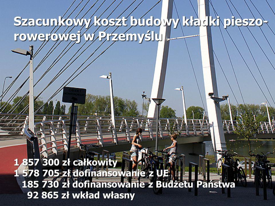 Szacunkowy koszt budowy kładki pieszo- rowerowej w Przemyślu 1 857 300 zł całkowity 1 578 705 zł dofinansowanie z UE 185 730 zł dofinansowanie z Budże