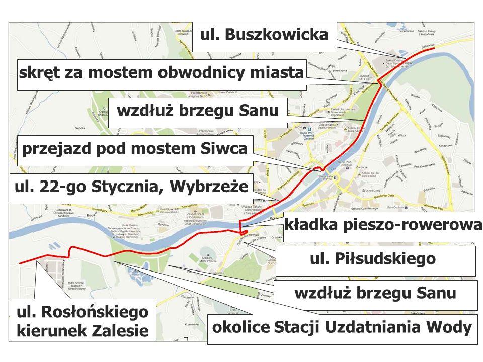 wzdłuż brzegu Sanu przejazd pod mostem Siwca ul.