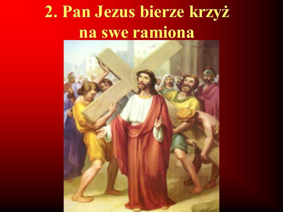 2. Pan Jezus bierze krzyż na swe ramiona
