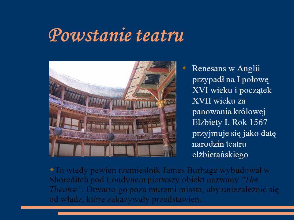 Powstanie teatru Renesans w Anglii przypadł na I połowę XVI wieku i początek XVII wieku za panowania królowej Elżbiety I. Rok 1567 przyjmuje się jako