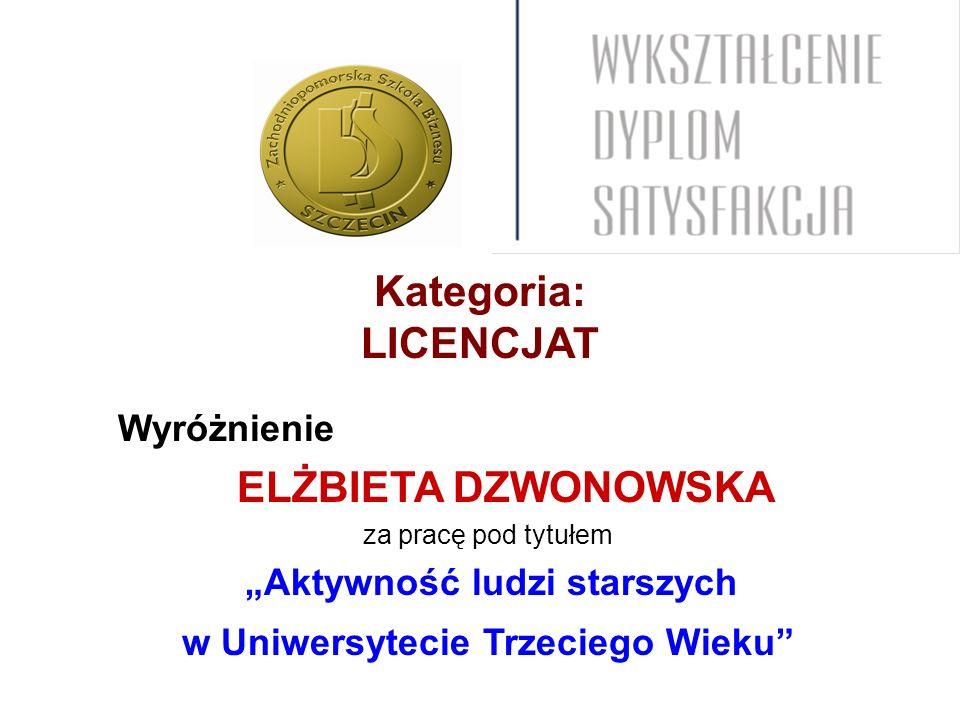 Kategoria: LICENCJAT Wyróżnienie ELŻBIETA DZWONOWSKA za pracę pod tytułem Aktywność ludzi starszych w Uniwersytecie Trzeciego Wieku