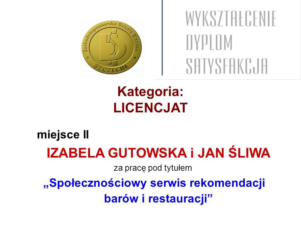 Kategoria: LICENCJAT miejsce II IZABELA GUTOWSKA i JAN ŚLIWA za pracę pod tytułem Społecznościowy serwis rekomendacji barów i restauracji