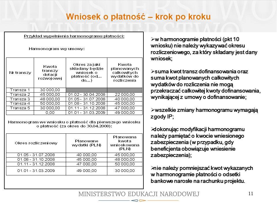 11 w harmonogramie płatności (pkt 10 wniosku) nie należy wykazywać okresu rozliczeniowego, za który składany jest dany wniosek; suma kwot transz dofin