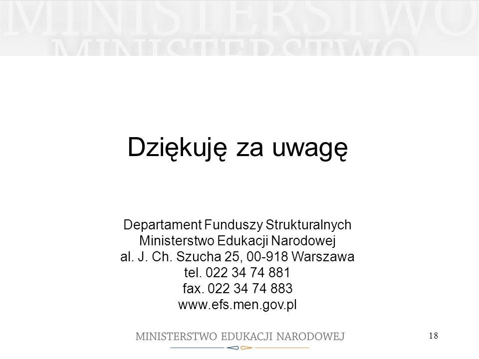 18 Dziękuję za uwagę Departament Funduszy Strukturalnych Ministerstwo Edukacji Narodowej al. J. Ch. Szucha 25, 00-918 Warszawa tel. 022 34 74 881 fax.