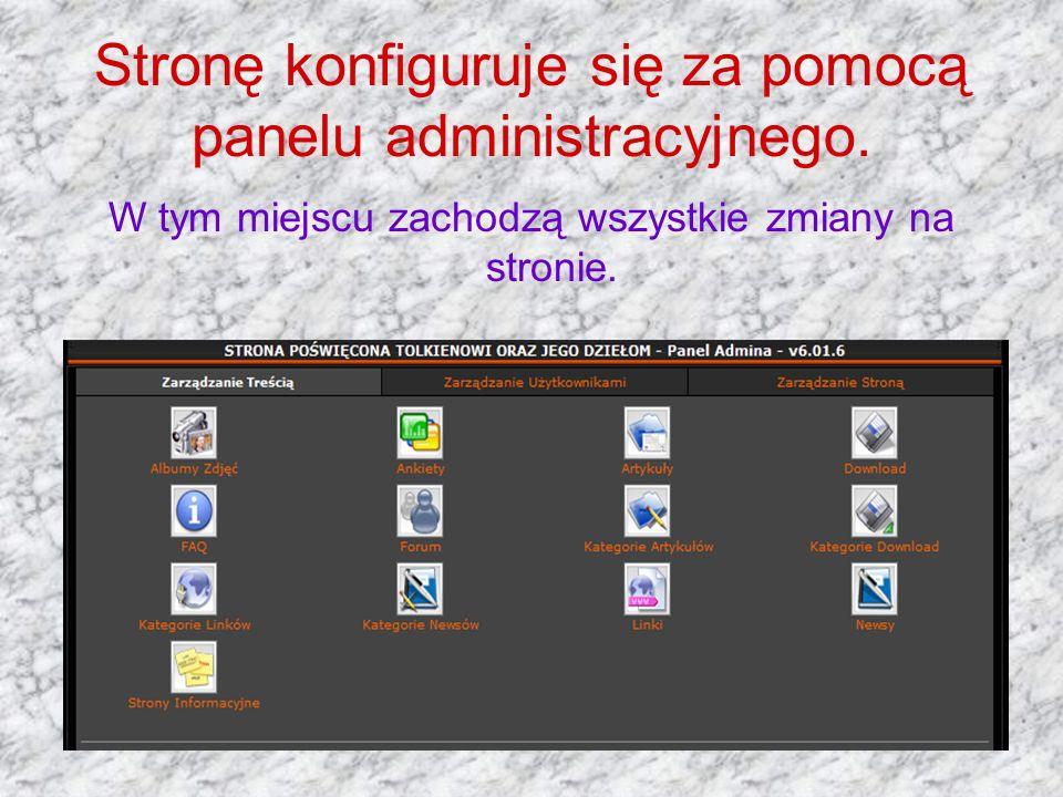 Stronę konfiguruje się za pomocą panelu administracyjnego. W tym miejscu zachodzą wszystkie zmiany na stronie.