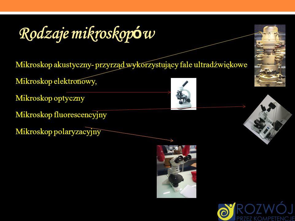 Rodzaje mikroskop ó w Mikroskop akustyczny- przyrząd wykorzystujący fale ultradźwiękowe Mikroskop elektronowy, Mikroskop optyczny Mikroskop fluorescen