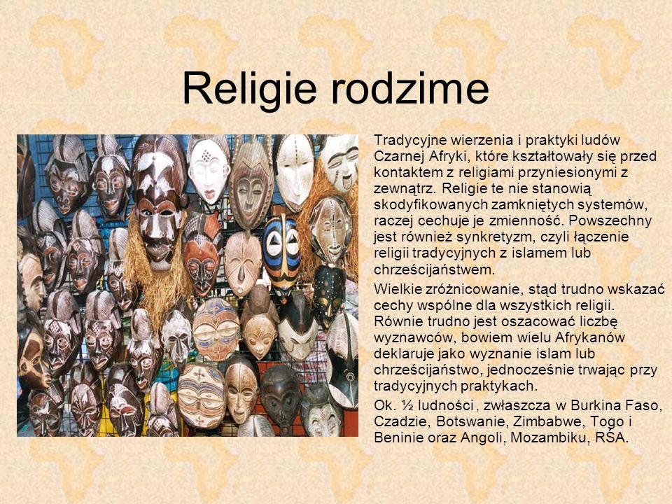 Religie rodzime Tradycyjne wierzenia i praktyki ludów Czarnej Afryki, które kształtowały się przed kontaktem z religiami przyniesionymi z zewnątrz. Re