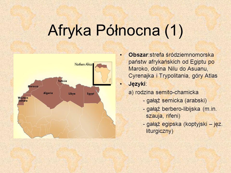 Afryka Północna (1) Obszar:strefa śródziemnomorska państw afrykańskich od Egiptu po Maroko, dolina Nilu do Asuanu, Cyrenajka i Trypolitania, góry Atla
