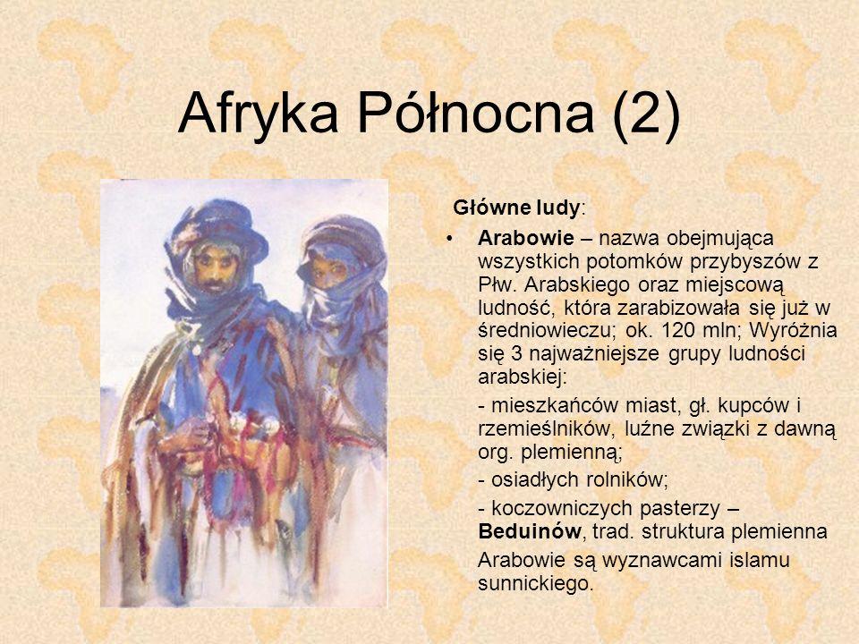 Afryka Północna (2) Główne ludy: Arabowie – nazwa obejmująca wszystkich potomków przybyszów z Płw. Arabskiego oraz miejscową ludność, która zarabizowa