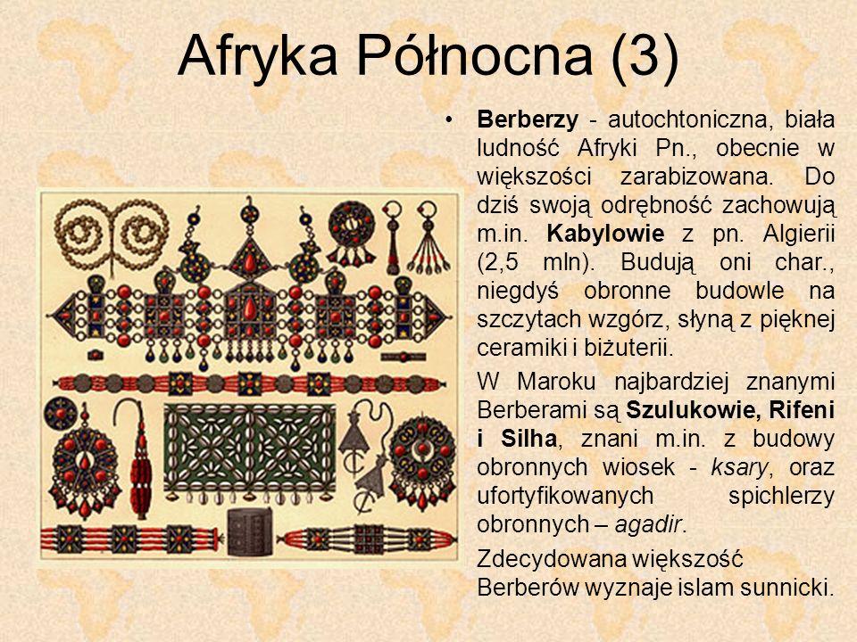 Afryka Północna (3) Berberzy - autochtoniczna, biała ludność Afryki Pn., obecnie w większości zarabizowana. Do dziś swoją odrębność zachowują m.in. Ka