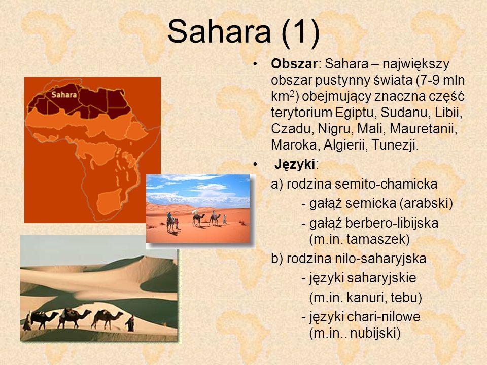 Sahara (1) Obszar: Sahara – największy obszar pustynny świata (7-9 mln km 2 ) obejmujący znaczna część terytorium Egiptu, Sudanu, Libii, Czadu, Nigru,