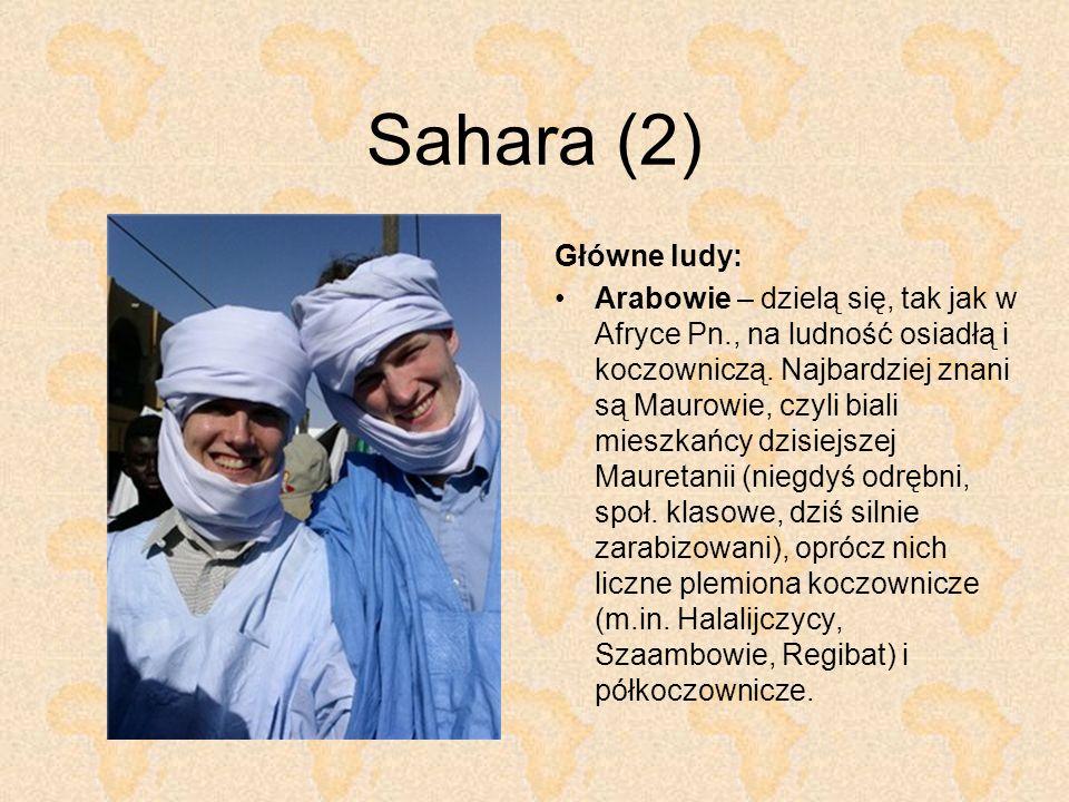 Sahara (2) Główne ludy: Arabowie – dzielą się, tak jak w Afryce Pn., na ludność osiadłą i koczowniczą. Najbardziej znani są Maurowie, czyli biali mies