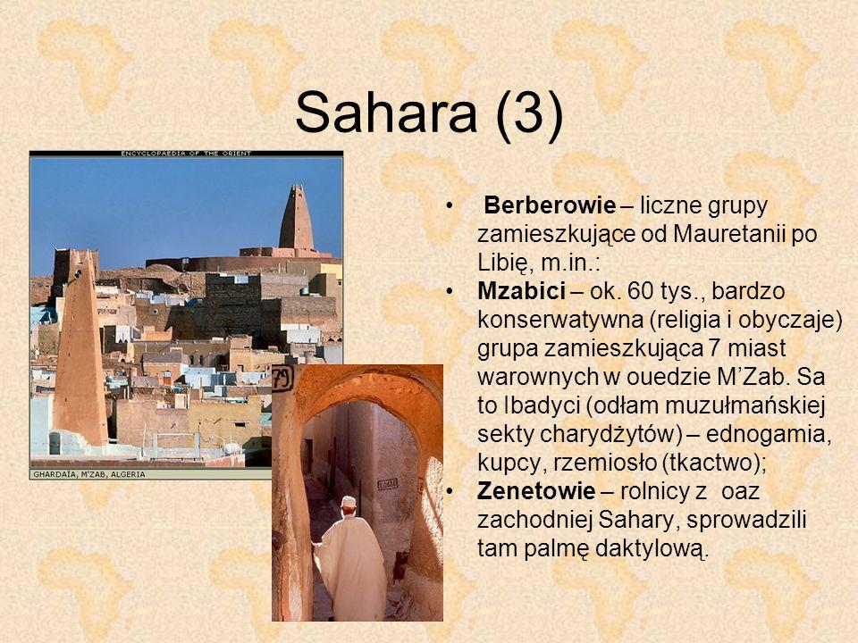 Sahara (3) Berberowie – liczne grupy zamieszkujące od Mauretanii po Libię, m.in.: Mzabici – ok. 60 tys., bardzo konserwatywna (religia i obyczaje) gru