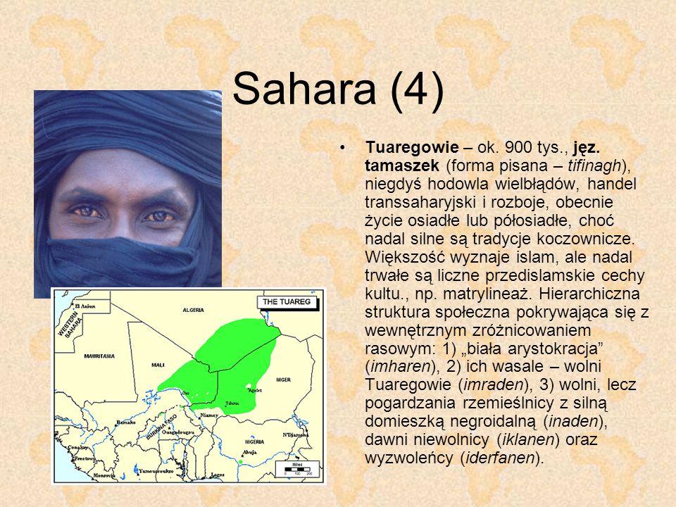 Sahara (4) Tuaregowie – ok. 900 tys., jęz. tamaszek (forma pisana – tifinagh), niegdyś hodowla wielbłądów, handel transsaharyjski i rozboje, obecnie ż