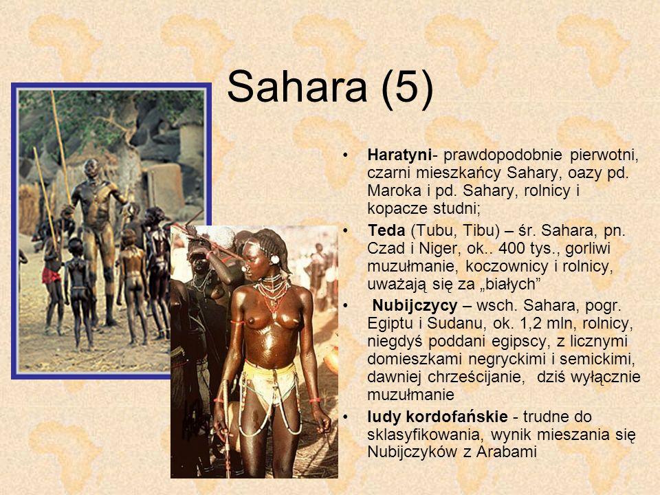 Sahara (5) Haratyni- prawdopodobnie pierwotni, czarni mieszkańcy Sahary, oazy pd. Maroka i pd. Sahary, rolnicy i kopacze studni; Teda (Tubu, Tibu) – ś