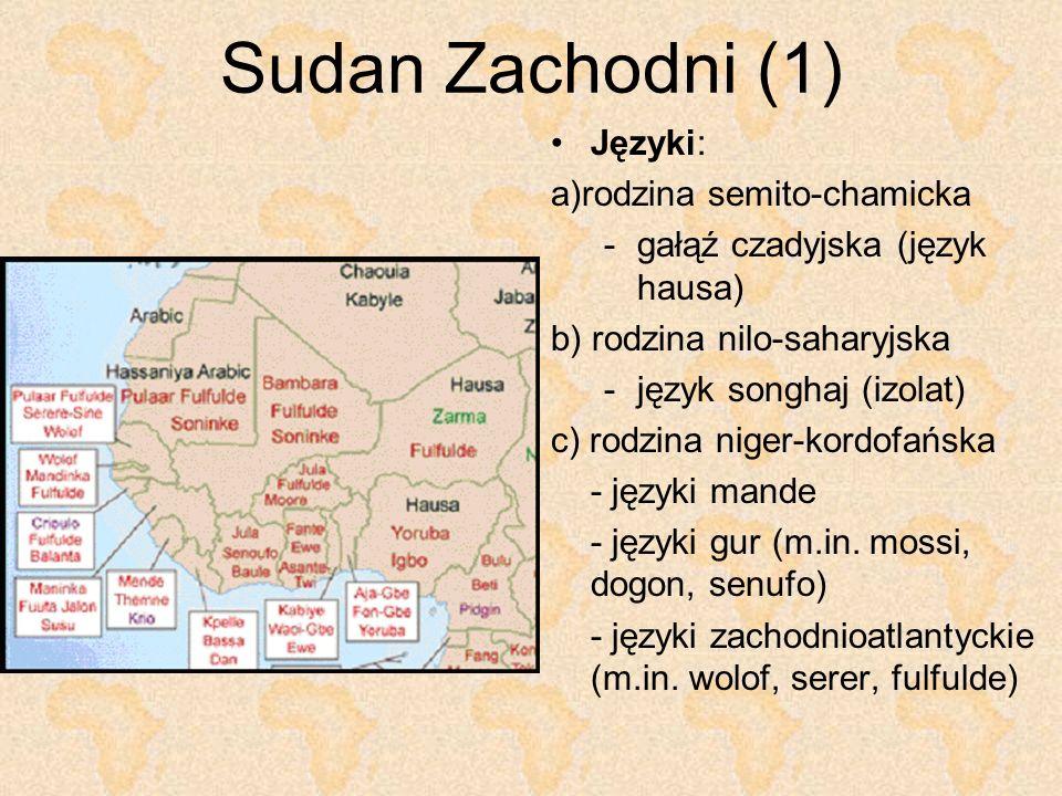 Sudan Zachodni (1) Języki: a)rodzina semito-chamicka -gałąź czadyjska (język hausa) b) rodzina nilo-saharyjska -język songhaj (izolat) c) rodzina nige