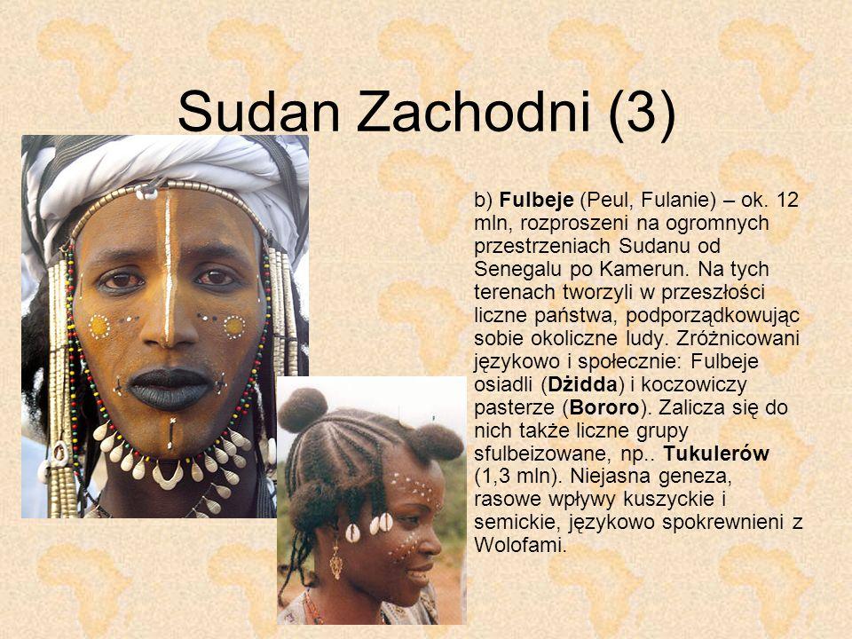 Sudan Zachodni (3) b) Fulbeje (Peul, Fulanie) – ok. 12 mln, rozproszeni na ogromnych przestrzeniach Sudanu od Senegalu po Kamerun. Na tych terenach tw