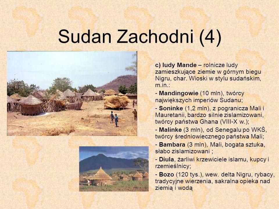 Sudan Zachodni (4) c) ludy Mande – rolnicze ludy zamieszkujące ziemie w górnym biegu Nigru, char. Wioski w stylu sudańskim, m.in.: - Mandingowie (10 m
