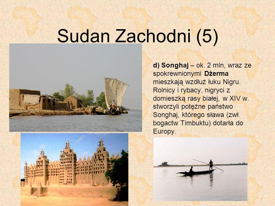 Sudan Zachodni (5) d) Songhaj – ok. 2 mln, wraz ze spokrewnionymi Dżerma mieszkają wzdłuż łuku Nigru. Rolnicy i rybacy, nigryci z domieszką rasy białe