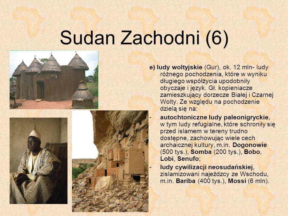 Sudan Zachodni (6) e) ludy woltyjskie (Gur), ok. 12 mln- ludy różnego pochodzenia, które w wyniku długiego współżycia upodobniły obyczaje i język. Gł.