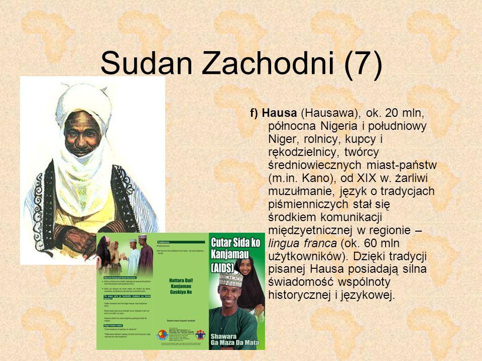 Sudan Zachodni (7) f) Hausa (Hausawa), ok. 20 mln, północna Nigeria i południowy Niger, rolnicy, kupcy i rękodzielnicy, twórcy średniowiecznych miast-